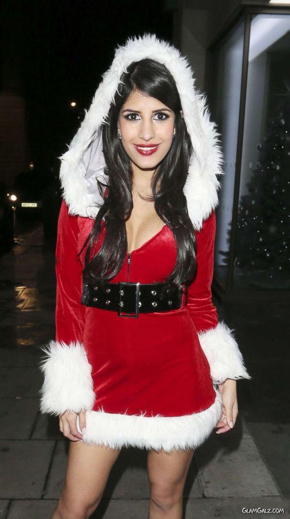 Jasmin Walia In A Santa Outfit In London