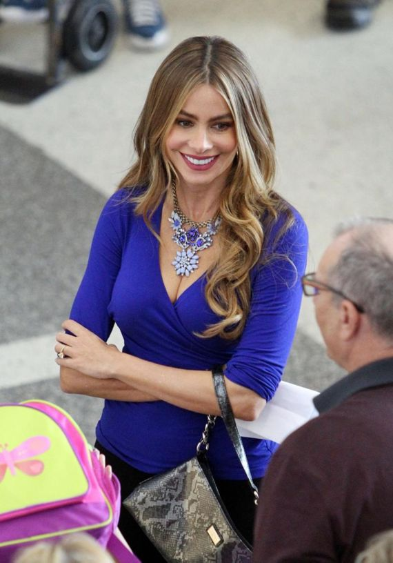 Sofia Vergara Shooting Modern Family At LAX