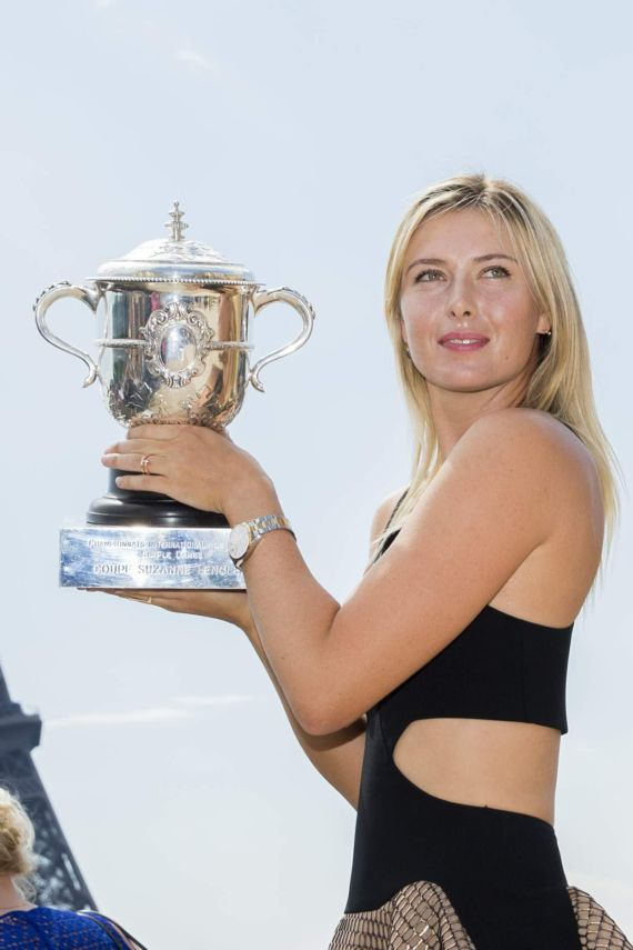 Maria Sharapova Poses With The Coupe Suzanne Lenglen